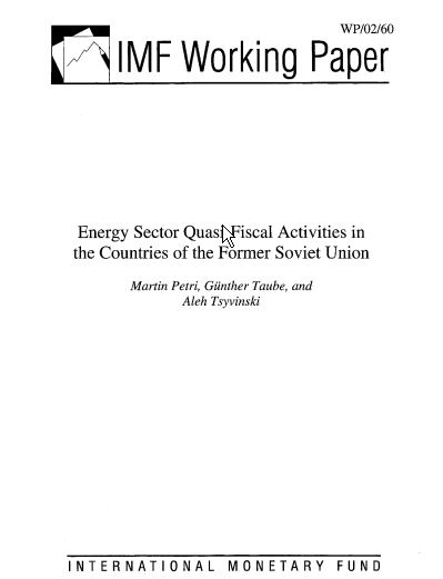 Energy Sector Quasi-Fiscal Activities in the Countries of the Former Soviet Union