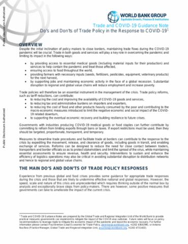Do's and Don'ts of Trade Policy in the Response to COVID-19